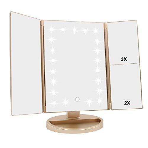 Espejo Maquillaje con Luz,HOMI Profesional Espejo Cosmético 1X, 2X,3X Iluminacíon 21 Led Pantalla táctil Lámparas,Plegable Lámpara LED 180° Rotación Coméstico con Mostrador,Mejor Regalo (Oro)