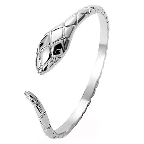 Pulsera de plata de serpiente plateada