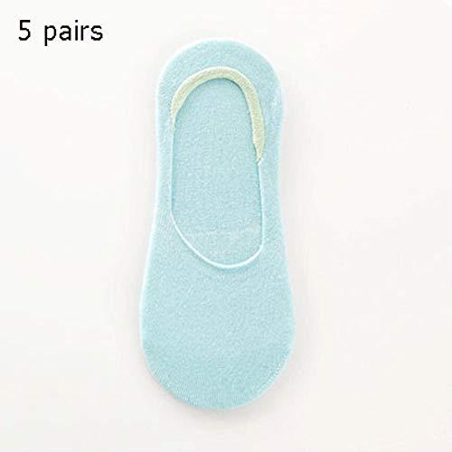 LinZX 5 Paare Frauen-Sommer-Socken Kurz Süßigkeit Socken Tracks für Frauen Boots-Socken Hausschuhe weiblich,Blue