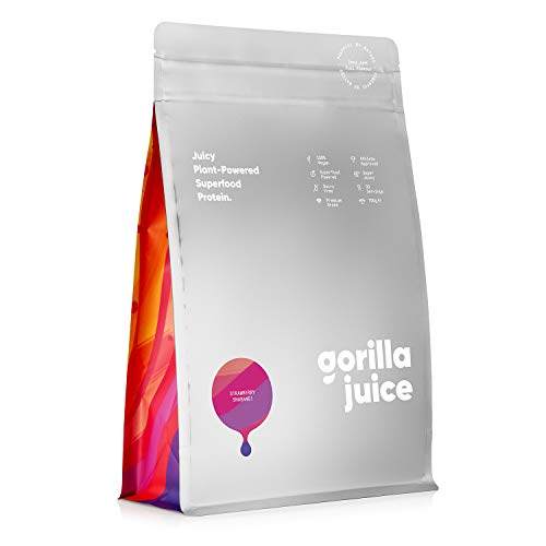 Gorilla Juice Superfood Vegan Protein Powder - Added Superfood Formula - All Natural Plant Based Protein Blend with Pea and Brown Rice Protein - Strawberry Flavour 750g (30 Servings)