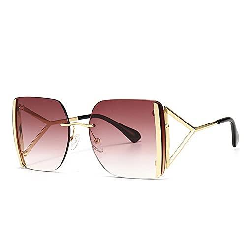 HAIGAFEW Gafas De Sol Cuadradas Unisex para Mujer Gafas De Sol para Mujer Gafas De Sol De Gran Tamaño para Mujer Proteger Los Ojos-Rojo Dorado