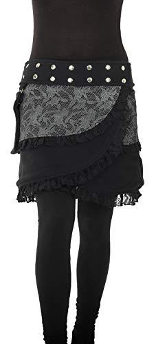 PUREWONDER Damen Wickelrock aus Fleece Winterrock Rock sk240 Schwarz Einheitsgröße verstellbar