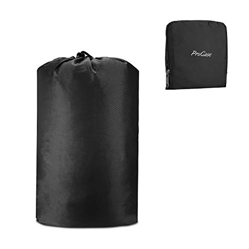 ProCase Travel Laundry Bag, Foldable Compressible Storage Pouch Packing Organizer Bag for Dirty Clothes During Trip –Black