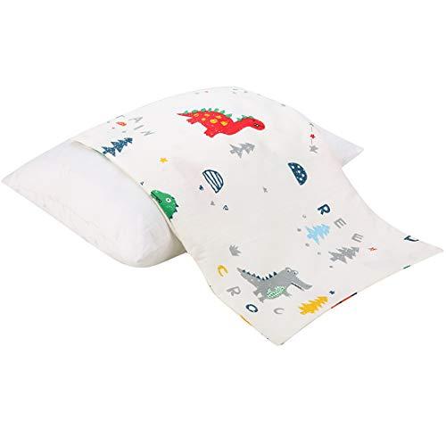 Cloele Kids Toddler Pillowcase 13x18 Satin Cotton Pillowcases 1 Pack Kids Pillow Cover,Envelope Pillowcase for Children Soft Bedding Small Pillow Cover for Baby Pillows(Dinosaur)