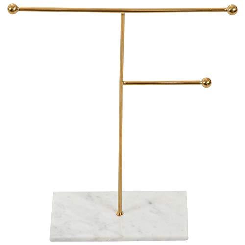 Mogzank Nordisch Metall Golden Lager Regal mit Marmor Sockel Chic Ins Moderner Schmuck Halskette Ohrring Display Rack Halter Schreibtisch Dekor Groo