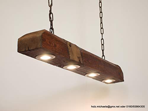Hängelampe, Deckenlampe Holz, Lampe aus altem Holzbalken inkl. LEDs stufenlos dimmbar 64