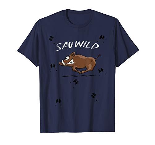 Sauwild | lustig rennendes Wildschwein wilde Wildsau T-Shirt