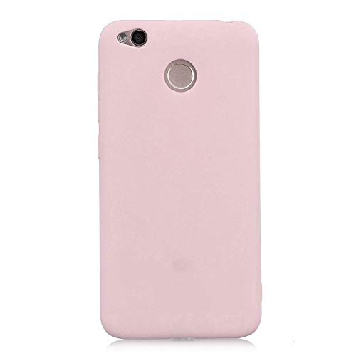 cuzz Funda para Xiaomi Redmi 4X+{Protector de Pantalla de Vidrio Templado} Carcasa Silicona Suave Gel Rasguño y Resistente Teléfono Móvil Cover-Rosa Claro