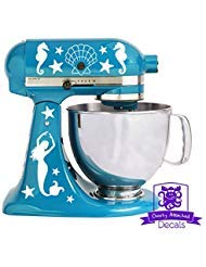 Overly Attached Decals Nautical Mermaid Seahorse Seashells and Starfish Kitchen Stand Mixer Front...