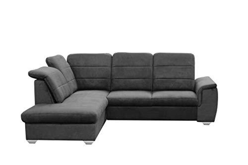 MOEBLO Ecksofa mit Schlaffunktion mit Bettkasten Sofa Couch L-Form Polstergarnitur Wohnlandschaft Polstersofa mit Ottomane Couchgranitur - BLAS (Anthrazit,...