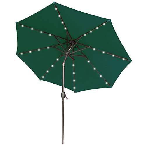 ABCCANOPY 275cm Gartenschirm Sonnenschirm neigbar mit 32 Solar-LED-Lichtern,für Garten,Deck,Schwimmbad,Sandstrand,Dunkelgrün