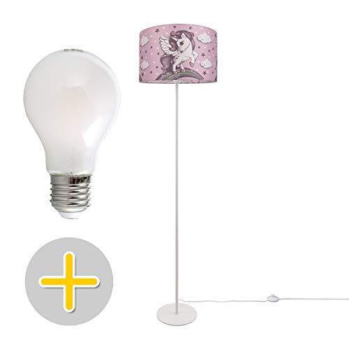 Kinderlampe LED Stehlampe Kinderzimmer Einhorn Lampe, Mädchen Stehleuchte E27, Lampenfuß:Einbeinig Weiß + Leuchtmittel, Lampenschirm:Pink (Ø38 cm)