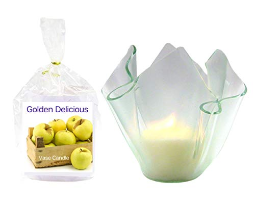 Golden Delicious Apple Clear Satin Vase | 2 Premium Soy Paraffin Wax Blend Candle Refills | 100 Hour Total Burn Time | Highly Scented | Self-Trimming Wick | Fresh Poured