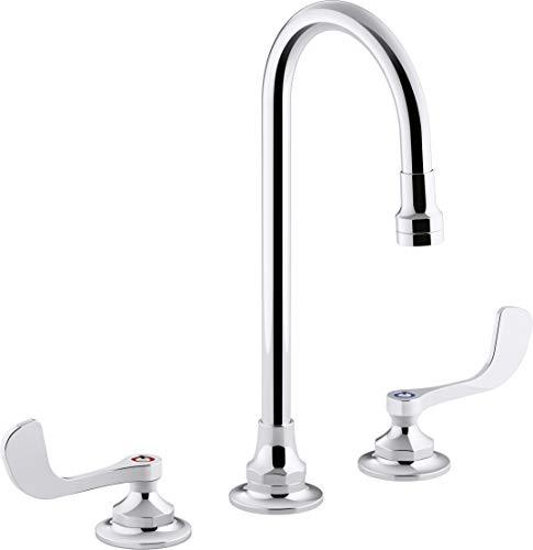 Grifo de fregadero de baño de 0,5 gpm con flujo laminar, boquilla de cuello de cisne y asas de muñeca, drenaje no incluido