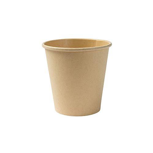 BIOZOYG Taza Bio degradable Desechables I Tazas Desechables Tazas de Papel con Capa de PLA I 50 Piezas de Taza para Llevar café I Taza de Papel marrón sin blanquear 150 ml 6 oz