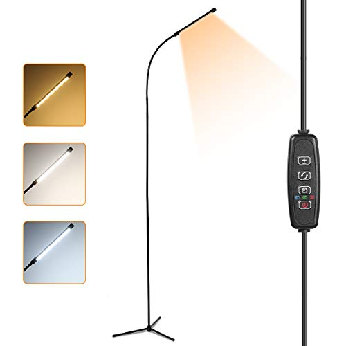 Stehlampe LED Dimmbar, 10W Stehleuchte Stufenlos Dimmen Leselampe für Schlafzimmer Wohnzimmer, Flexibler Schwanenhals, 3 Farbtemperaturen 12 Stufe Helligkeit, Memory und Timer Funktionen, EU Adapter