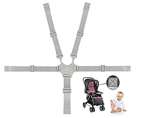 FIGFYOU 5 Punkt Gurt Sicherheitsgurt Multifunktional Kinderschutzgurt Universal Hochstuhl Gurt mit 2 Schulterpolsterungen Gurt für Buggy, Kindersitz, Kinderwagen und Hochstuhl (Grau)