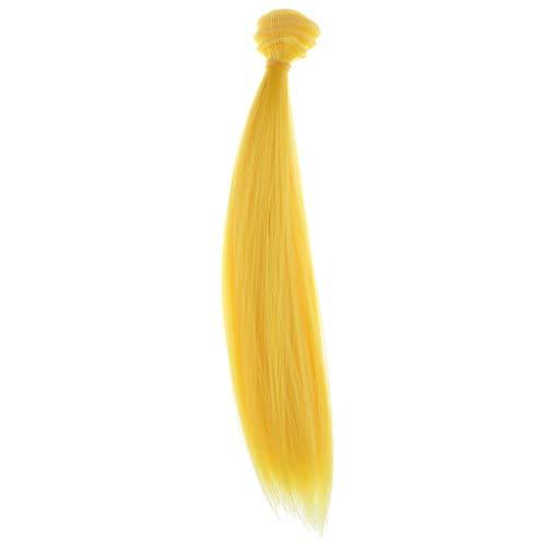 perfeclan 25x100cm Puppenzubehör Puppenhaar Lange Glatte Haare Perücke - Gelb