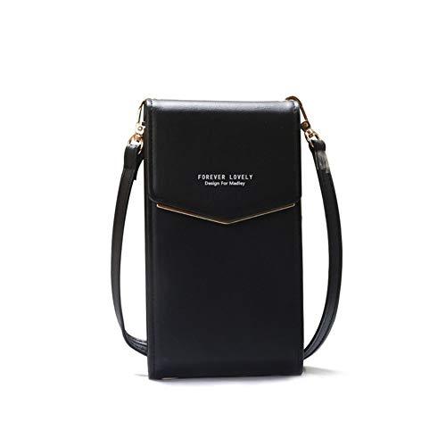GF- women's bags Les Femmes Paquet Diagonale Mode coréenne Multifonction Couleur Unie Forfait de téléphone Porte-Monnaie (Color : Black)