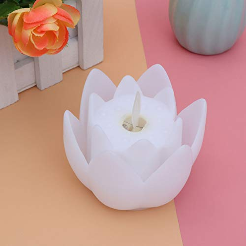 Uonlytech Lotus-Kerzenlicht flammenloses Votivkerzenlicht Lotus-Teelicht für Weihnachtshaus (weiß)