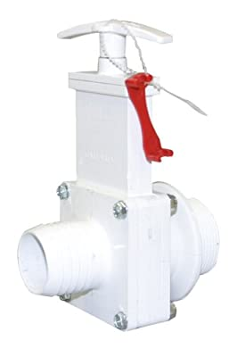 """Valterra 6136X PVC Gate Valve, White, 1-1/2"""" MPT x Hose Barb w/Gate Keeper from Valterra Products"""