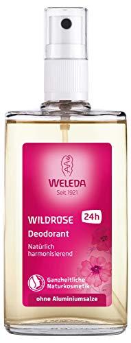 WELEDA Wildrosen Deodorant, natürliches Naturkosmetik Deo mit ätherischen Ölen, wirkt desodorierend ohne Poren zu verschließen, Körperspray mit harmonisierendem Duft ohne Aluminium (1 x 100 ml)