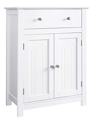 VASAGLE Free Standing Bathroom Drawer and Adjustable Shelf, Kitchen Cupboard, Wooden Entryway Storage Cabinet, 23.6 x 11.8 x 31.5 Inches, White UBBC61WT
