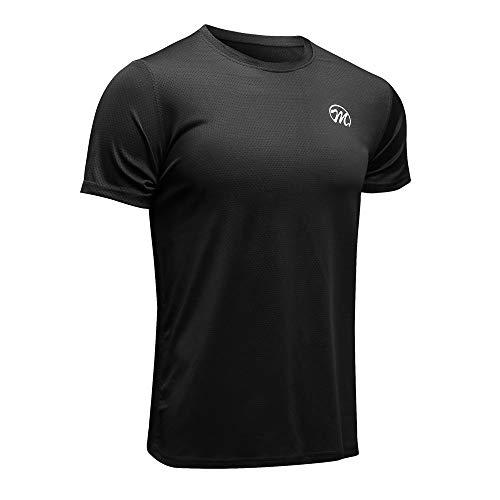 MEETWEE Sportshirt Herren, Laufshirt Kurzarm MeshFunktionsshirtAtmungsaktivKurzarmshirt Sports Shirt Trainingsshirtfür Männer, Schwarz, S