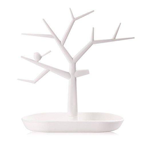Vococal Organizzatore bianco dei braccialetti del supporto dell'espositore degli anelli della collana dei gioielli dell'orecchino di forma dell'albero orecchini
