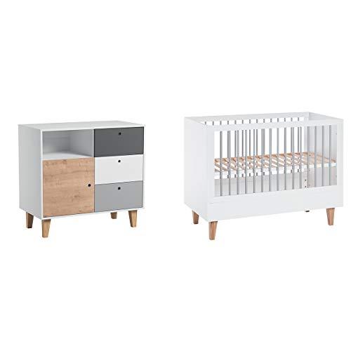 Lit bébé 60x120 et Commode à langer Concept - Bois