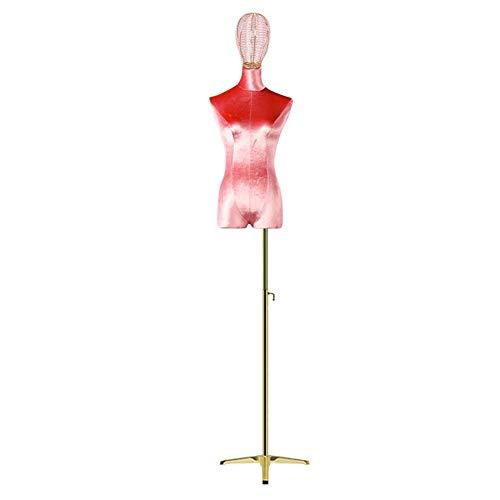ZHAS Torso de maniquí Femenino de Larga duración con trípode, Forma de Vestido de Cuerpo de maniquí Femenino para proyectos artesanales (Color: Rojo, 颜色 Color: sin Brazos)