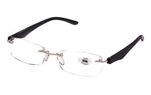 Gafas de Lectura Sin Montura Vista Cansada Presbicia,Gafas de Hombre y Mujer Unisex con Montura de Pasta, Bisagras Standard, Para Leer, Ver de Cerca (+3.0, Negro)