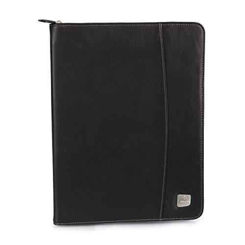SWIZA Convaso Zippered Leatherette Folio avec calculatrice intégrée - Noir