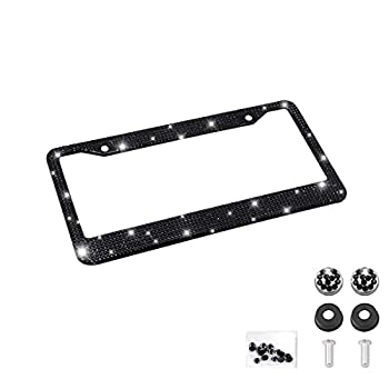 Bling Car License Plate Frame Handcrafted Crystal Stainless Steel License Plate Frame Sparkly Durable Universal Fit Car Accessories for Girls Women  Black