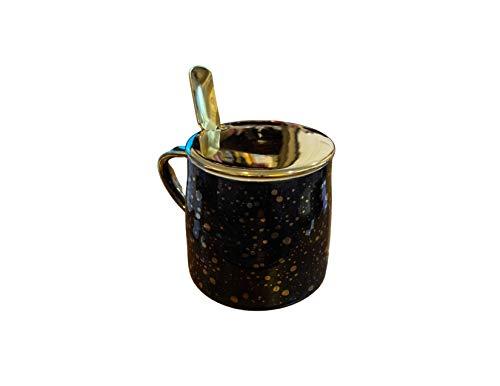 Keramiktasse für Kaffee und Tee, mit Deckel und Löffel, Schwarz, Rosa, Gold (schwarz)