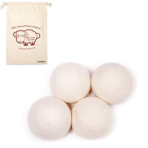 OrgaWise Palline Asciugatrice Lana 4-Pack XL Riutilizzabile, Statico Riducente, 100% Organico New Zealand Wool Dryer Balls Wool Asciugatrice Palla Lana Asciugatura Aalle, Ammorbidente Naturale