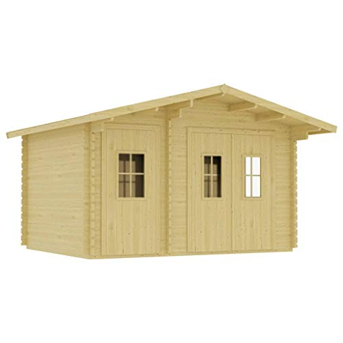 vidaXL Solid Pinewood Log Cabin with Floor Weather Resistant Outdoor Garden Backyard House Timber Wooden Shed Building 44mm 410x320x264cm