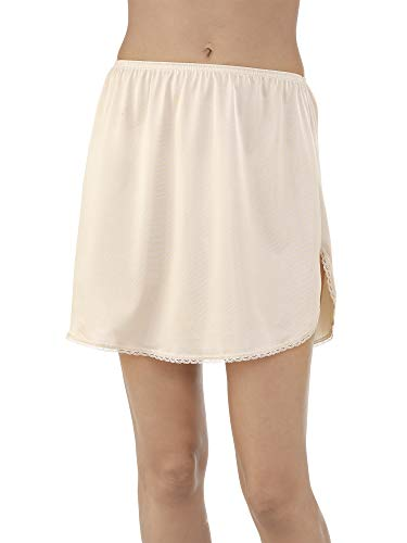 "Vanity Fair Women's Everyday Layers Single Slit Half Slip, Damask Neutral, S (18"" Length)"