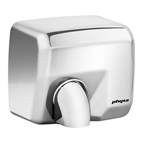 Physa Asciugamani Elettrico Automatico Asciugatore Mani da Bagno VELLA SILVER (Tempo di asciugatura max. 15 s, 6000 rpm, Velocità del getto d'aria 35 m/s, Volume dell'aria 270 m³/h)