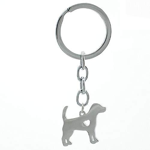 Edler Schlüsselanhänger mit Hunde-Silhouette, Polierte Oberfläche, Hundepfote, Glücksbringer, Metall silberfarben