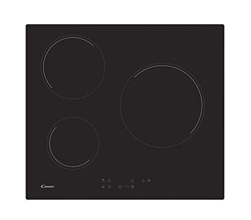 Candy ch63ct, Keramische kookplaat 3 Zones Glas Keramische kookplaat, Zwart, 590 x 520 x 46,6 mm