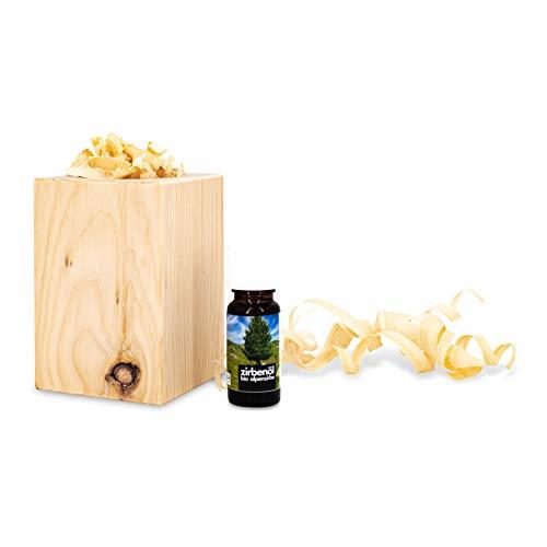 sagl.tirol holzmanufaktur Zirbenduftset (Naturbelassen mit Zirben-Späne + Bio-Zirbenöl (10ml) schön verpackt in einem Organza Sack mit handgehobelten Zirbenlocken …)