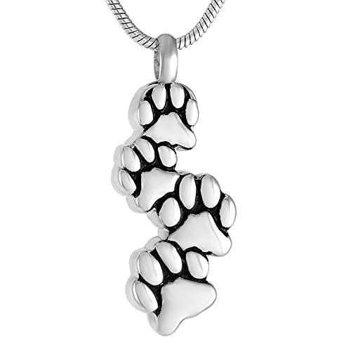 Colar com pingente de aço inoxidável para cinzas de cremação, quatro patas de cachorro, colar de urna memorial para animais