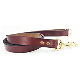 Dogs & Co. Signature Leather Dog Lead. Brown, Large – Length 48″ / 102cm, Width 7/8″