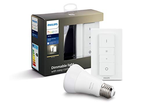 Philips Lighting Hue Kit con 1 Lampadina White Connessa, con Bluetooth, Luce Bianca Calda Dimmerabile, Attacco E27, 9 W, + 1 Telecomando Hue Dimmer Switch