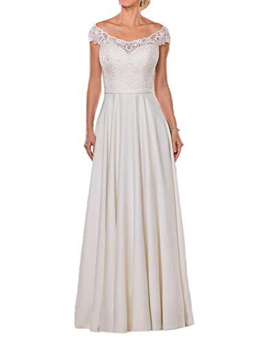 Schlichte Brautkleider Off-Shoulder Spitze Lang A-Linie Schleppe Hochzeitskleider Satin Cap-Ärmel Standesamt Kleider Elfenbein 48