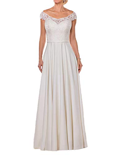 Schlichte Brautkleider Off-Shoulder Spitze Lang A-Linie Schleppe Hochzeitskleider Satin Cap-Ärmel Standesamt Kleider Elfenbein 38