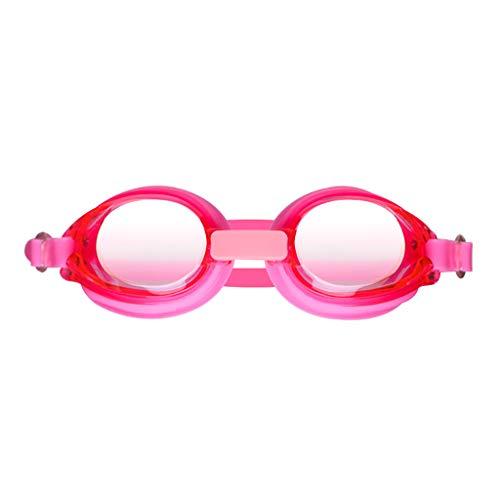 Yowablo Professionelle Silikon-Schwimmbrille Kein undichter Anti-Fog-UV-Schutz (1Stck,Rosa)