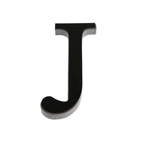 Malloom® Autocollant mural lettres DIY 3D Miroir Acrylique Décalques Décoration de maison mur Art (J, Noir)