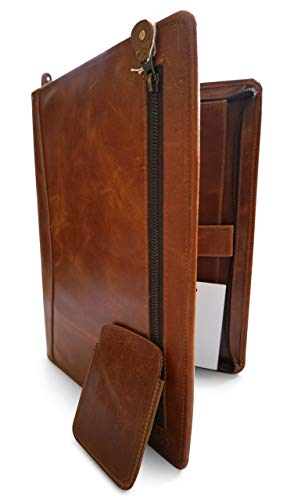 Carpeta de conferencia de cuero A4 - Portapapeles Padfolio para organizador de cartera con cremallera comercial, marrón